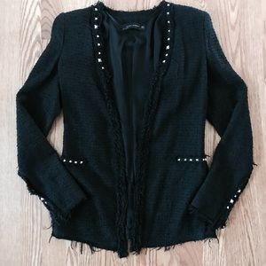 ZARA Wool Boucle Tailored Blazer with Studs
